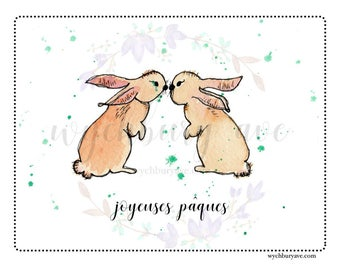 Printable French Easter Card / French Easter Greeting / French Bunny Card / Carte Pâques / Carte Joyeuses Pâques / French Easter Card