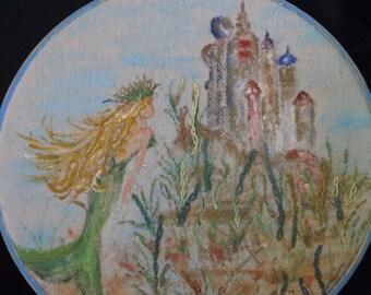 Handpainted mermaid hoop art, OOAK handpainted mermaid, mermaid hoop art