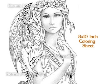 Fairy Dragon Queen - Fairy Tangles Grayscale Coloring Sheets Printable Coloring Pages Fairies and Dragons to color adult coloring books