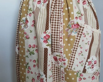 Half Apron, cooking apron VINTAGE / country style fabric. Ladies apron