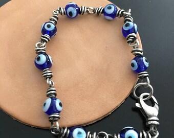 Sterling Silver Glass Eye Bead Evil Eye Protection Talisman Bracelet