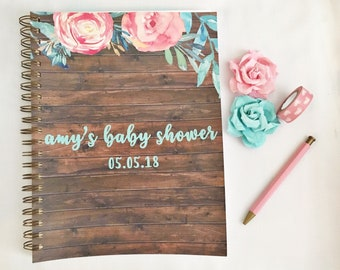 Personalized Baby Shower gift record book, baby shower guest book, gift for mom to be, baby shower keepsake, expecting mom gift