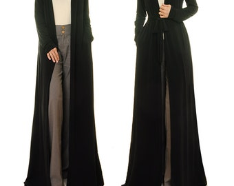 Black Cardigan | Black Maxi Cardigan | Long Cardigan | Long Duster Cardigan | Kimono Cardigan Duster Jacket | Plus Size Robe Duster XL 6359