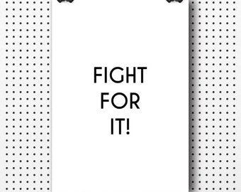 Fitness poster, gym decor, fight for it, motivational quote, modern prints, inspirational quote, typographic print, poster prints, gym quote