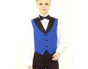 Kids Royal Blue Full Back Tuxedo Vest with Black Lapel