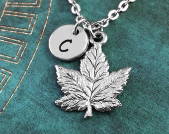 Silver Maple Leaf Necklace, Personalized Necklace, Autumn Necklace, Monogram Necklace, Autumn Jewelry, Maple Leaf Charm Necklace Custom Gift