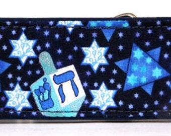 Dark Blue Hanukkah Martingale Collar-