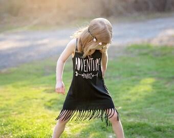 Toddler Fringe Dress - Adventure Awaits - Boho Dress - Arrow Dress - Baby Dress - Trendy Toddler Dress - Summer Dress - Girls Dress - Fringe