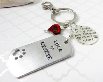 Personalized Pet Loss Gift, Pet Loss Keychain, Dog Bone Keychain, Heart Keychain, Car Accessories, Hand Stamped Urn Keychain, Dog Loss Gift