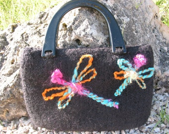 black felted wool handbag with embroidered dragonflies