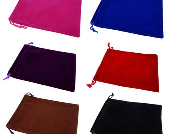 Wholesale Lot of 50 Color Soft Velvet Pouches with Drawstrings for Gift Packaging, 4 Size, 6 Colors availables