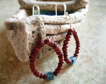 Brown turquoise earrings, bohemian earrings, boho jewelry, beaded earrings, brown earrings, wooden earrings, beach earrings, summer earrings