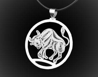 Silver embroidery Taurus pendant