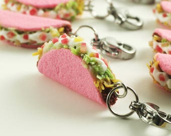 Taco Charm, Food Jewelry, Miniature Food Jewelry, Mini Food, Taco Tuesday, Food Charm, Stitch Marker, Pink Taco, Food Stitch Marker