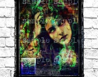 Bitcoin Cryptocurrency Crypto QR Code Fine Art Print Mixed Media Gypsy Portrait Home Wall Decor Digital Dark Art Code Ciphers Gothic Witch
