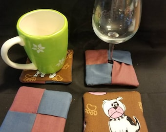 Mug rugs, coasters, wine glass coasters. Pups woof