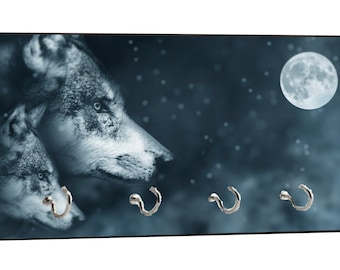 "Wolves in the Moonlight - Wildlife - 5"" by 11"" Key Hanger Household Decoration with Four Hooks"
