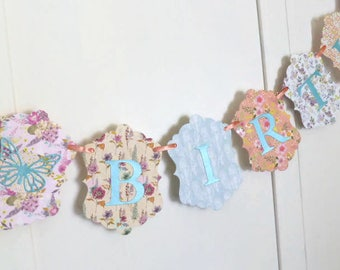Boho Floral Birthday Banner - Happy Birthday Banner - Peach, Lilac, Turquoise