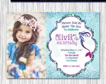 50%Off Mermaid Invitation Photo, Little Mermaid Invite, Mermaid under sea invitation, Mermaid Party, Mermaid Birthday, Mermaid Invitation, G