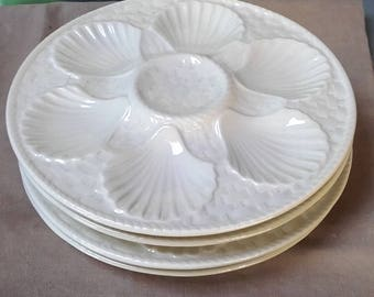 Vintage French Longchamp Chantilly Majolica Oyster Scallop Shell Plates