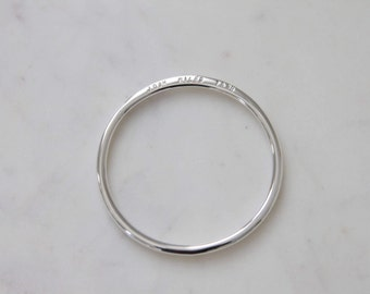 BANGLE Personalized jewelry with a hand stamped engraving, sterling silver by Jac and Hugo