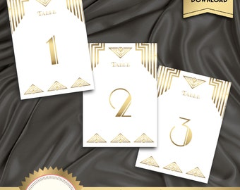 Great Gatsby Art Deco Table Cards 1 - 40, Table Numbers, Table Decoration - 1920's, 20's Style - White  and Gold - Instant Download