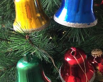 vintage Christmas bells, rainbow Christmas ornaments, bell baubles, four Christmas jingle bells