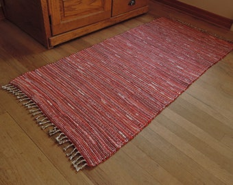 """Hand Woven Rag Rug Red and White 26"""" x 56"""""""