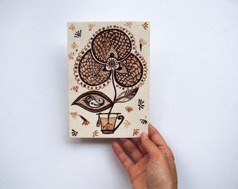 OOAK Illustrazione originale dipinta a mano di un fiore. Masala Tea, ispirato dal viaggio in India. Folk Art 13 x 18
