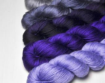 Your Grace - Gradient Yarn Set of Silk / Cashmere Fingering Yarn - Purple Hand Dyed Yarn - handgefärbte Wolle - DyeForYarn