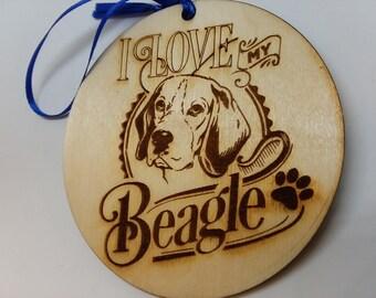 I Love My Beagle, Dog Ornament, Beagle Dog Gift, Dog Owner Gift, Beagle Christmas Gift, Gift For Dog Owner, Beagle Gift