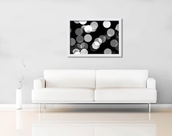 abstract light photography print black and white bokeh 11x14 12x18 20x30 24x36 wall art modern fine art geometric large scale monochrome