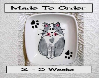 Smiling Gray & White Cat On Square Ceramic Dish Handmade Pet Dish by GMS