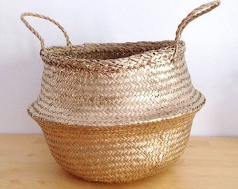 Gold Belly Basket Seagrass Panier Boule Nursery Toy Home Storage Planter Christmas