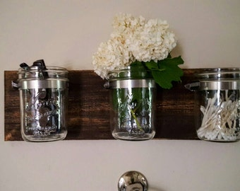 Mason Jar Decor - Bathroom Organizer - 3 Mason Jars on Reclaimed Wood - Wall Decor / Farmhouse Decor Bathroom Organizer - Gift for Women Her