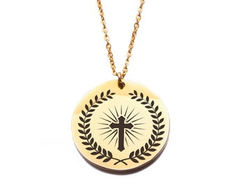 Religious cross design stainless steel gold plated pendant necklace