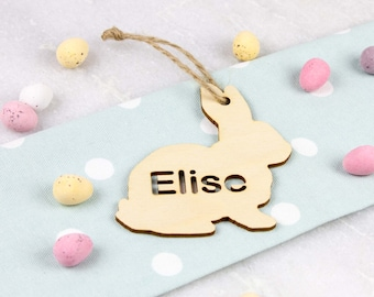 Personalised Wooden Hanging Easter Bunny Decoration