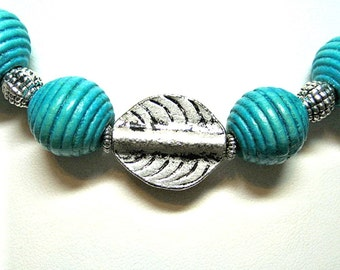 Handmade Turquoise and Silver Necklace - was 14.95