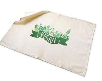 Vegan Tea towel-kitchen towels-vegetarian gift-Valentine's day gift-custom tea towels- dish towel-flour sack towels-NATURA PICTA-TWNP1