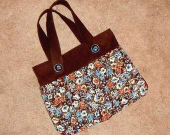 Corderoy Purse Hand Sewn New Materials Vintage Buttons Inside Zipper Pocket