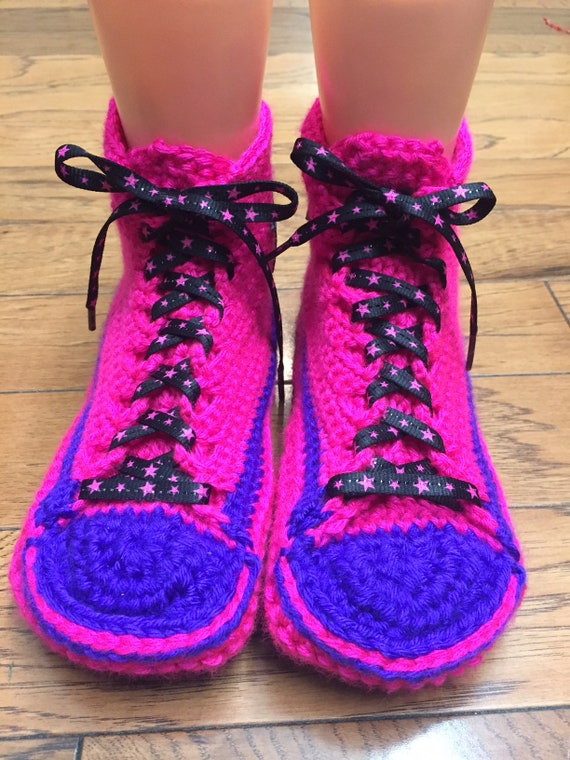 shoe converse inspired Converse neon converse converse converse 9 crocheted 319 crochet slippers Womens7 tennis sneaker slippers crocheted tpwYAwq