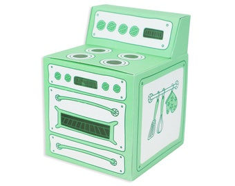 Mint Green Oven Cupcake Box - a sweet retro vintage pastel green stove cupcake packaging box