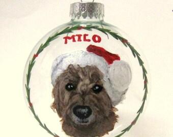 Labradoodle, Christmas Dog, Pet Ornament, Pet Loss Memorial, Handpainted Glass Ball, Decoration, Pet Painting, Custom Pet, Pet Portrait