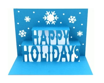 Happy Holidays Pop Up Card , Snowflakes , Winter , Christmas , Family , Friends