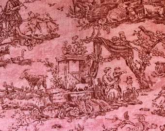 Pink fabric with vintage theme - Timeless Treasures - Quilting Cotton Fabric - Choose your cut