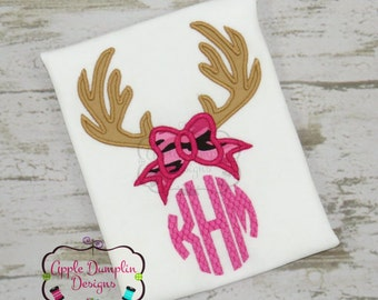Personalized Deer Antlers Monogram and Camo Applique Shirt or Bodysuit Girl or Boy
