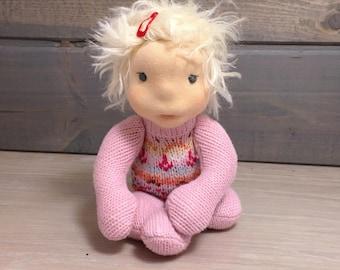 Waldorf inspired natural fiber baby doll