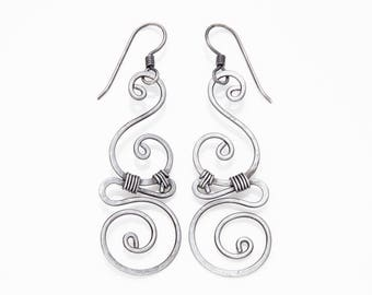 Sixth anniversary gift for wife. Whimsical spiral earrings. Iron Anniversary swirly earrings. Iron jewelry woven wire earrings. Gift for her