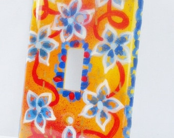 Eight Blue Flowers Hand Painted Light Switch Cover Nature Home Decor Wall Accents