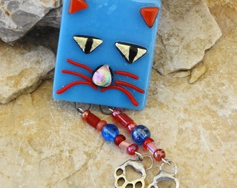 Fused Glass Lapel Pin, Fused Glass Cat, Blue Fused Glass Brooch, Cat Lover Brooch, Fused Glass Cat Pin, Cat Lover Jewelry - Cat with Paws